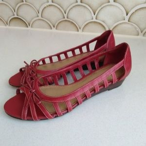 Etienne Aigner Red Strappy Flats Size 6